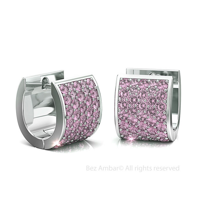 five -row-pink-sapphire-earrings-rhodium -plated-silver