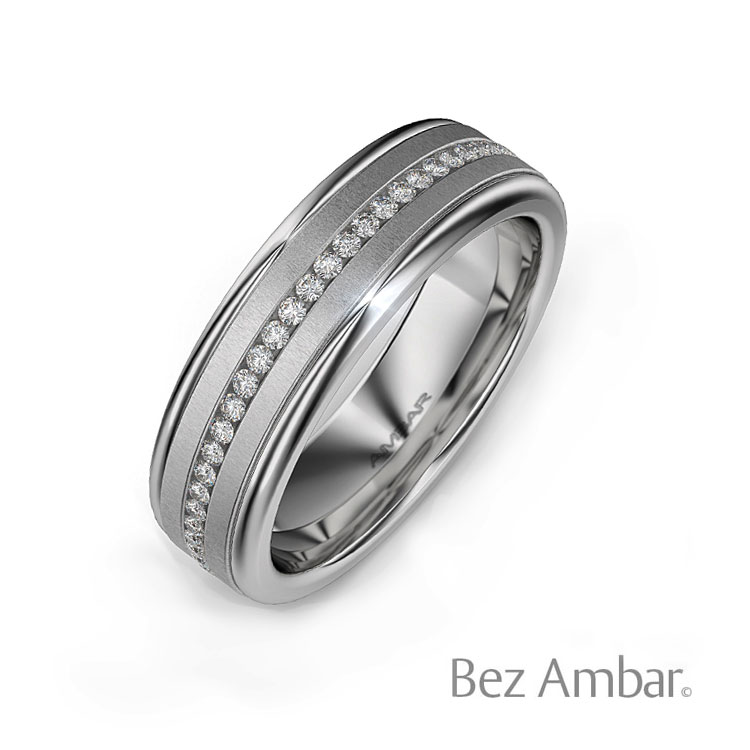 18k white gold mens wedding band devotion - Mens White Gold Wedding Ring
