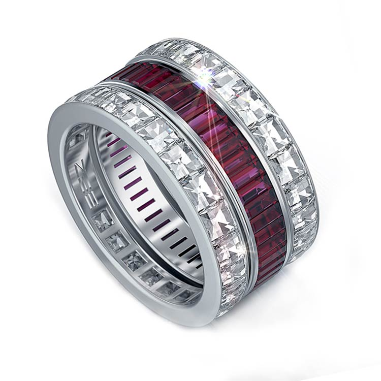 anniversary band pear engagement five bands sapphire ruby ring stone cut diamond