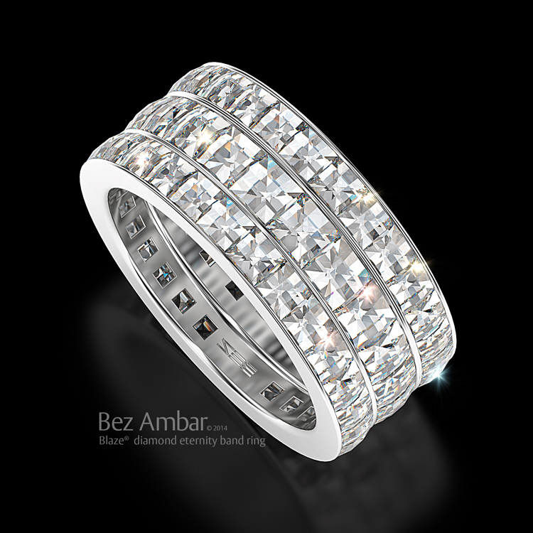 Square Cut Channel Set Diamond Wedding Ring