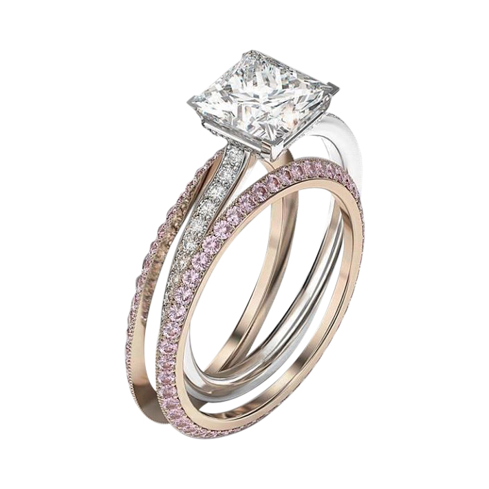 stark wedding ring set pink sapphire bookend bands - Pink Wedding Ring Set