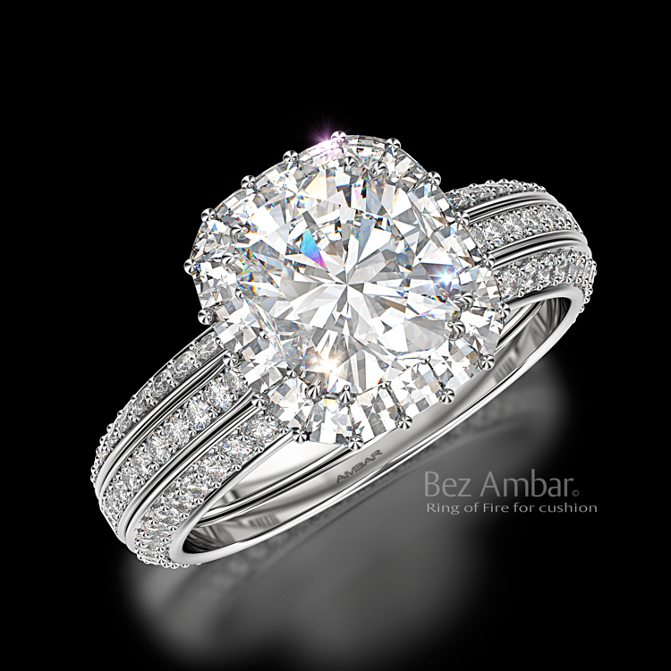 Cushion Cut Diamond Engagement Ring Ring Of Fire