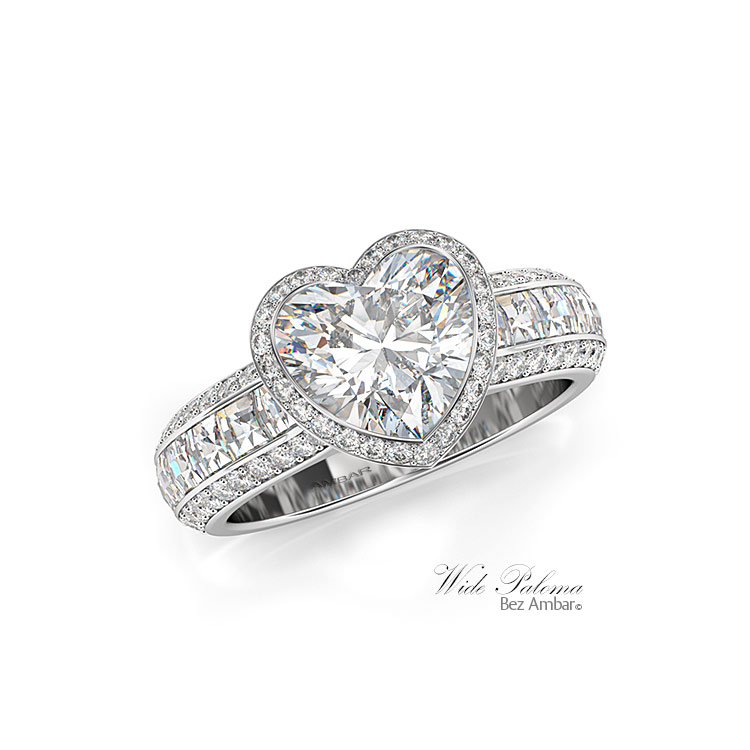 186583d6fdfdc 18k White Gold Heart Shaped Engagement Ring