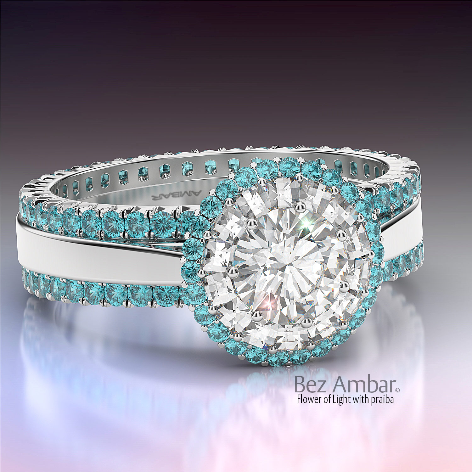 Paraiba Tourmaline Wedding Set Flower Of Light Bez