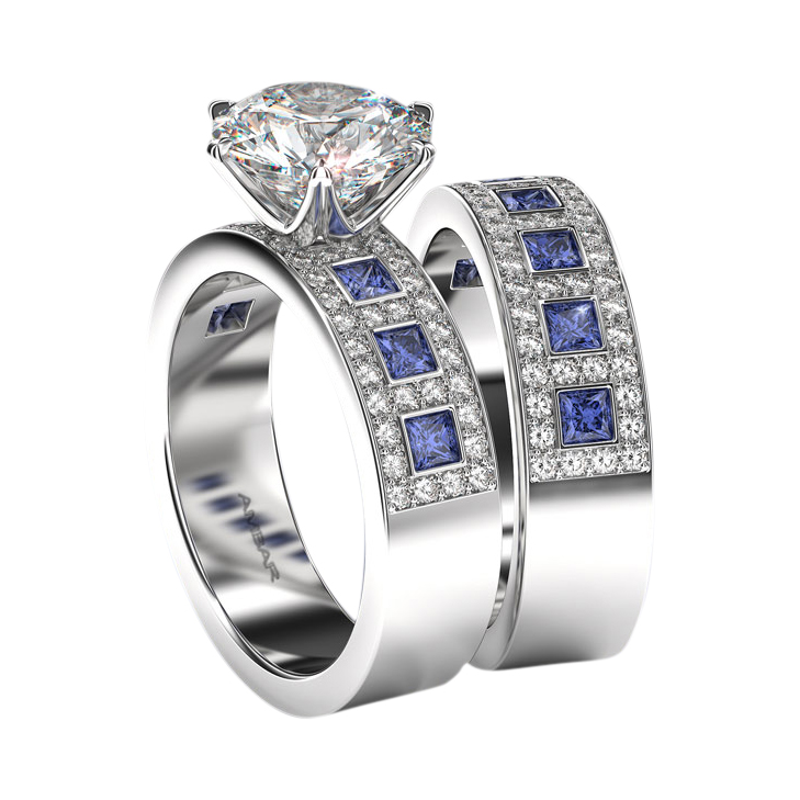 setting wedding bmjnyc gold jacobs branch set ring sapphire saph products barbara engagement four in white with michelle prong band solitaire and blue twig