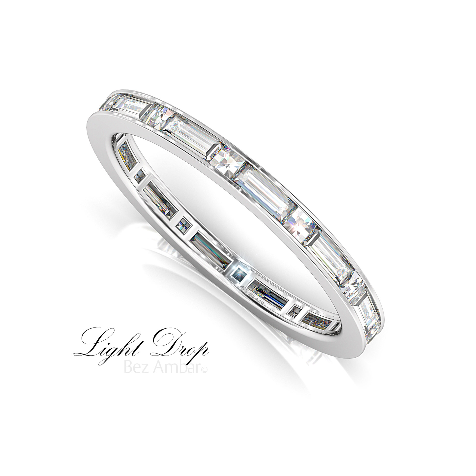 half eternity band wedding ring bands round gold diamond white baguette image amp