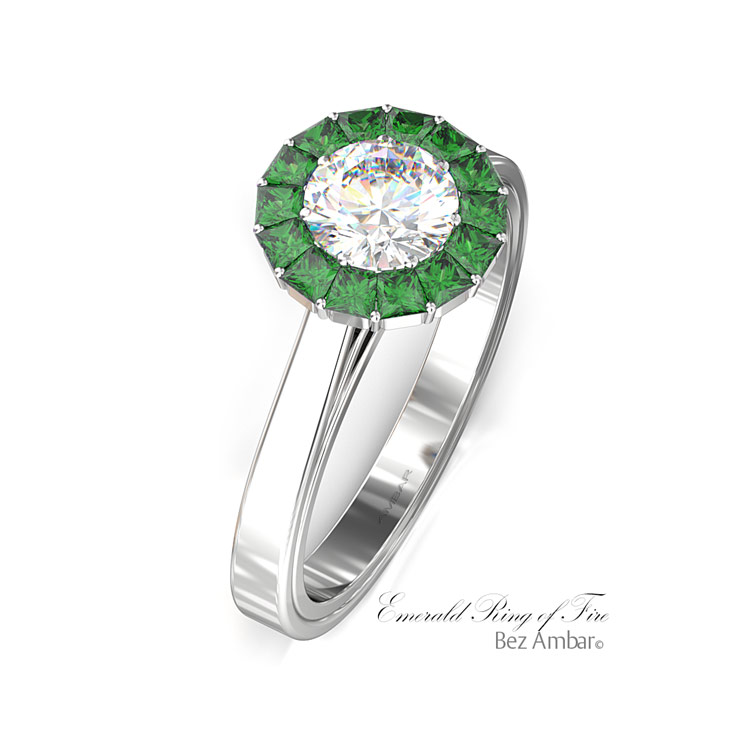 ce4b9daae605 Emerald Halo Engagement Ring - Ring of Fire by Bez Ambar